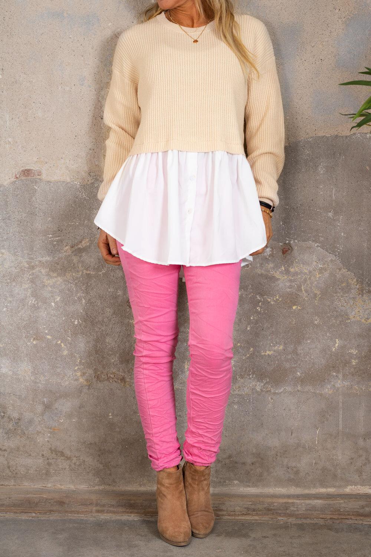Jenny genser - Skjorte nederst - Beige