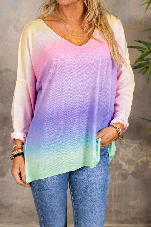 Jessica genser med v-hals - Pastell