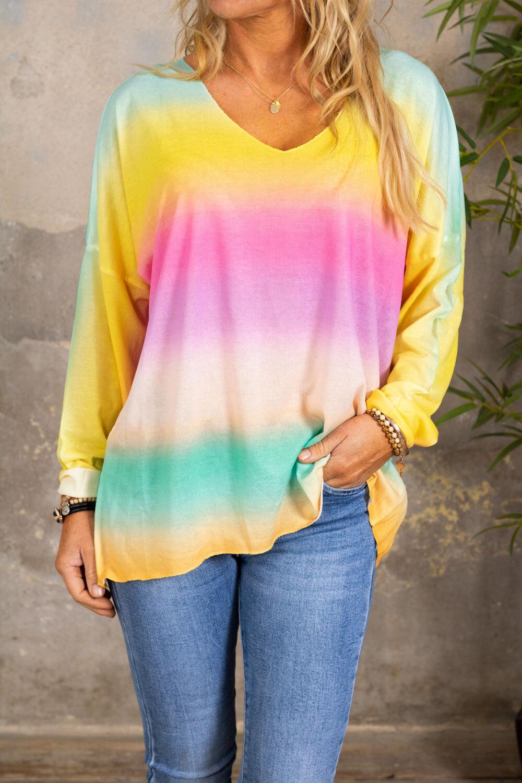 Jessica genser med v-hals - Rainbow