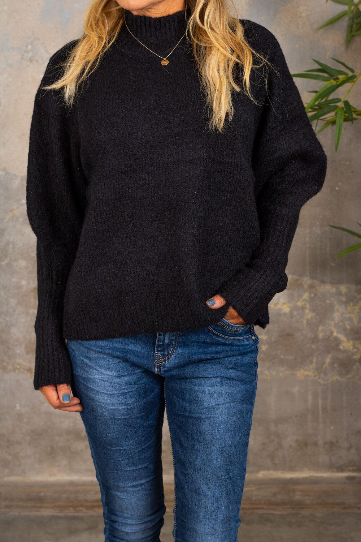 Jill Strikket genser - Glittertråder - Svart