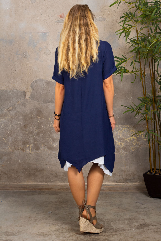 Jolie kortermet kjole - Navy / Cream