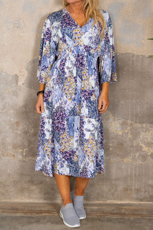 Julia kjole - Blomstermønster & Smock - Blå