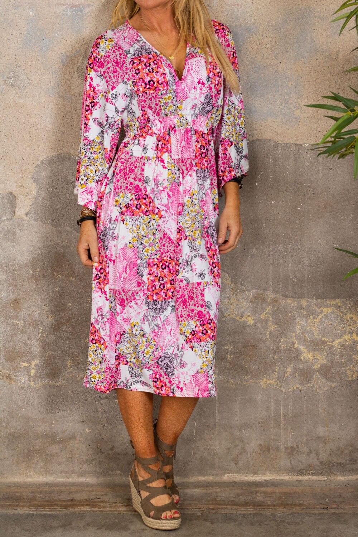 Julia kjole - Blomstermønster & Smock - Rosa