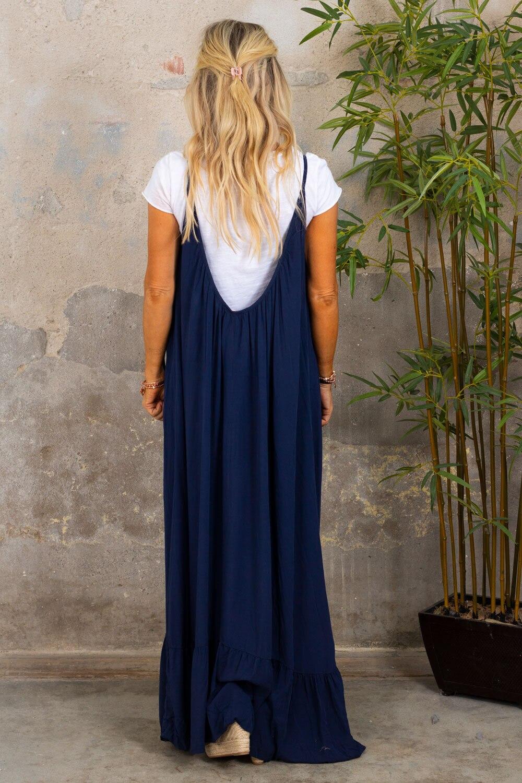 Kelsie lang kjole - V-hals rygg - Navy