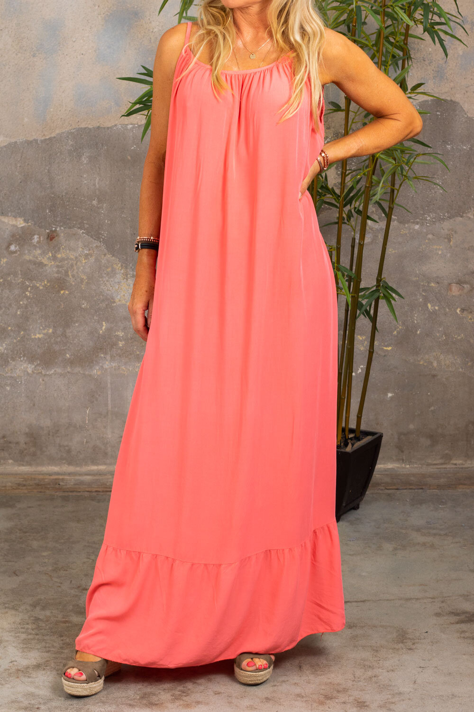 Kelsie lang kjole - V-hals rygg - Corall