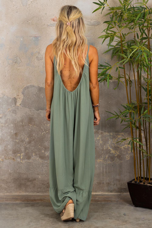 Kelsie lang kjole - V-hals rygg - Khaki