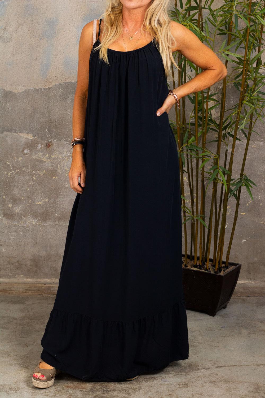 Kelsie lang kjole - V-hals rygg - Svart