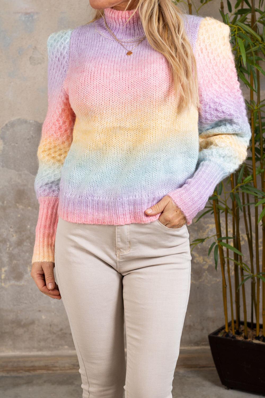 Kimberly strikket poloskjorte - Rainbow