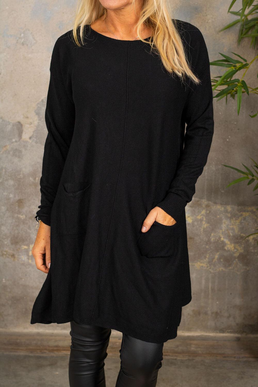 Klara Strikket kjole - Lommer - Svart
