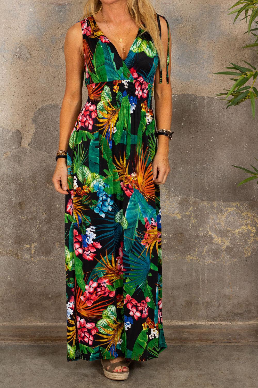 Lang myk kjole - Tropisk - Svart