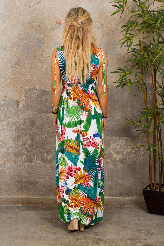 Lang myk kjole - Tropisk - Hvit