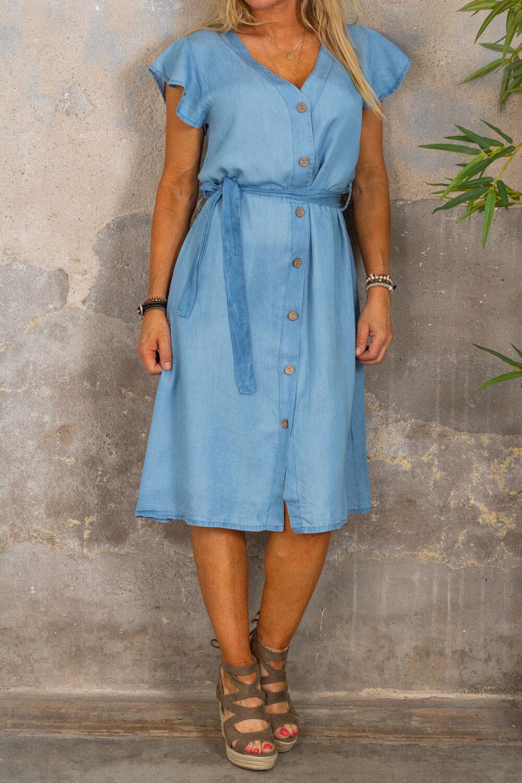 Laurel Jeans kjole - knapper og slips - lett vasking