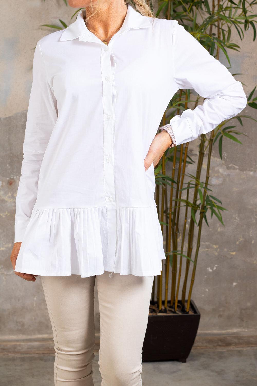 Lena skjorte - Volanger nederst - Hvit