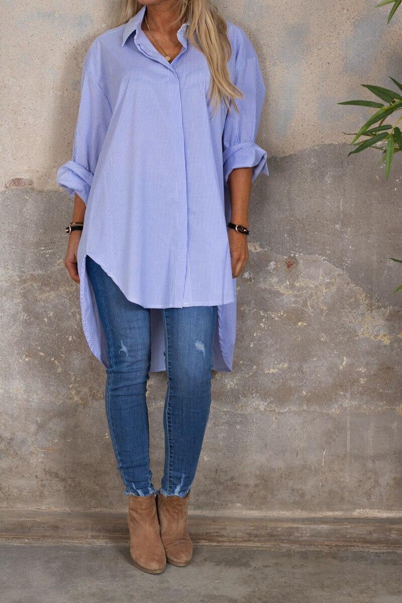Liv - Stripete lang Skjorte - Lyse blå