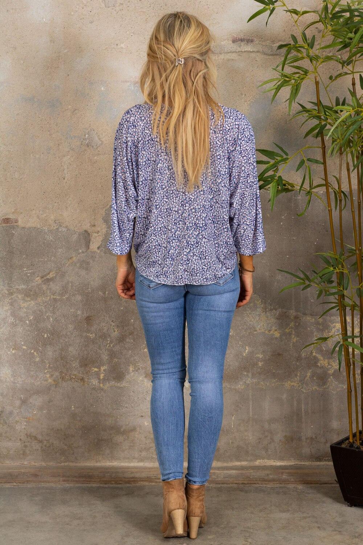 Macy Top - Blomstermønster - Blå