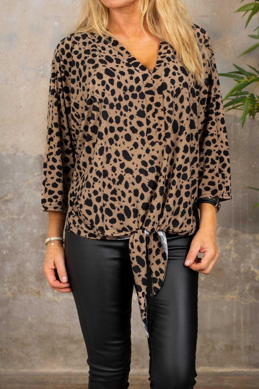 Macy Top - Leopardmønster - Taupe