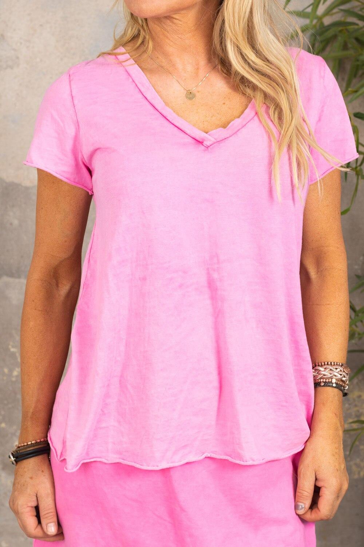 Marina - T-skjorte med V-hals - Cerise