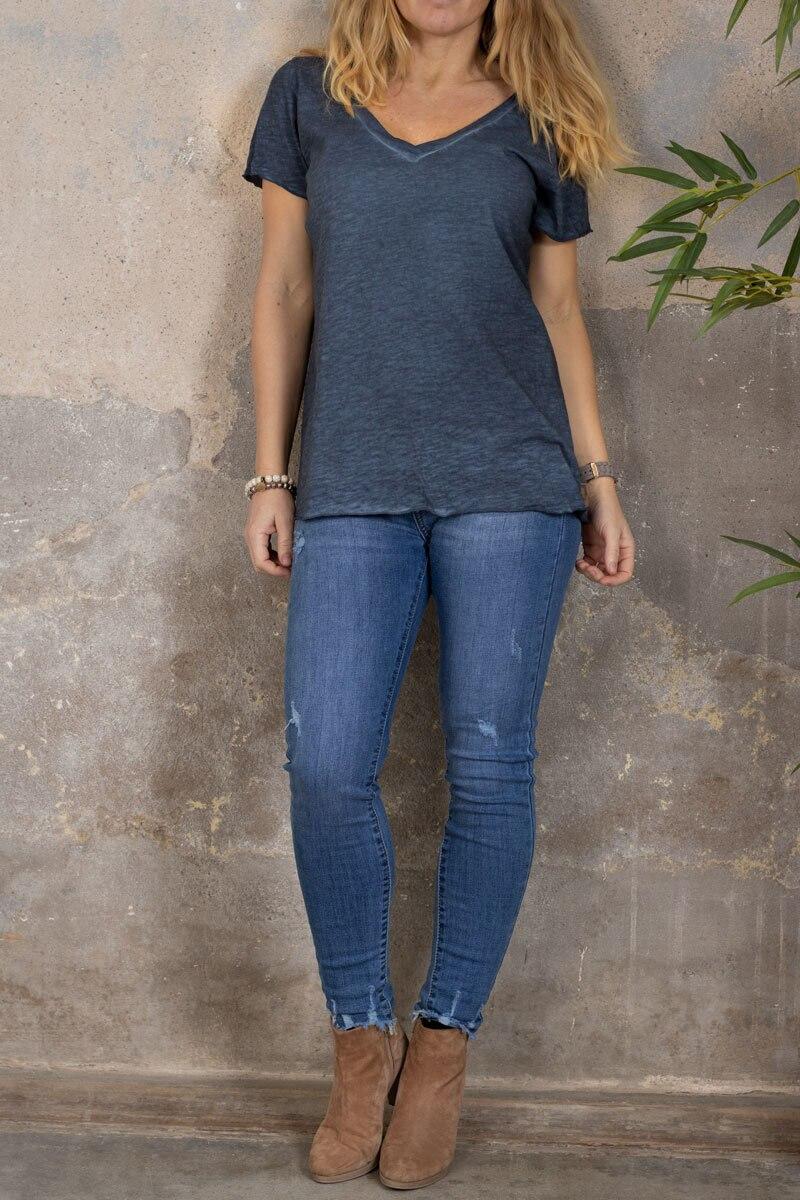 Marina - T-skjorte med V-hals - mørke blå