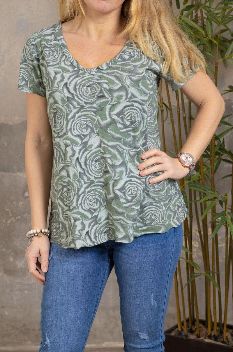 Marina - T-skjorte med V-hals - Roser - Khaki