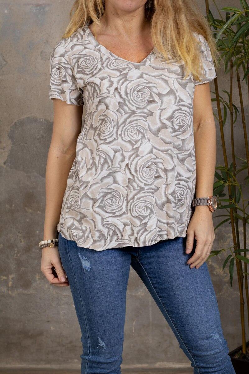 Marina - T-skjorte med V-hals - Roser - Taupe