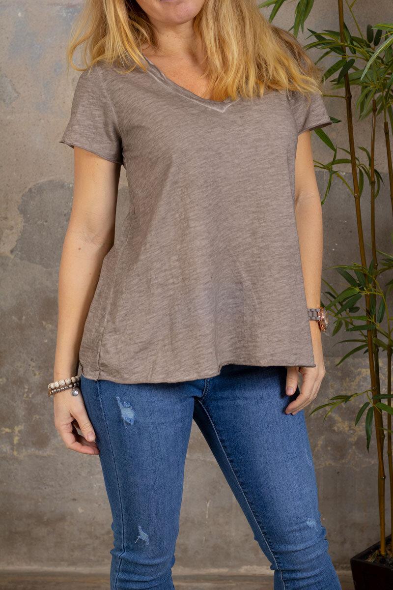 Marina - T-skjorte med V-hals - Taupe
