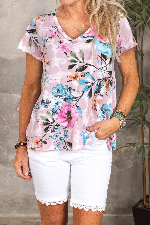 Marina T-shirt - Blommig - Rosa
