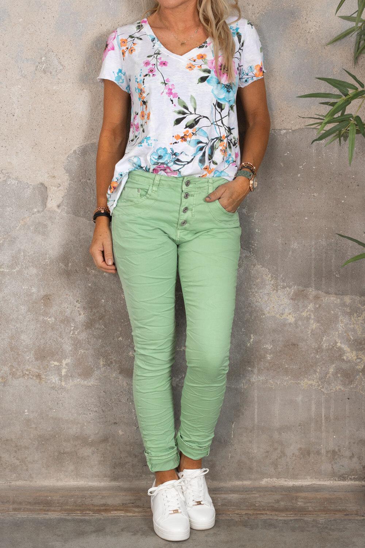 Marina T-shirt - Blommig - Vit