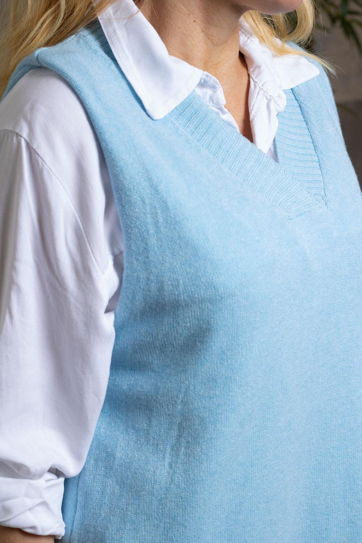 Melissa - Strikket vest - Lyse blå