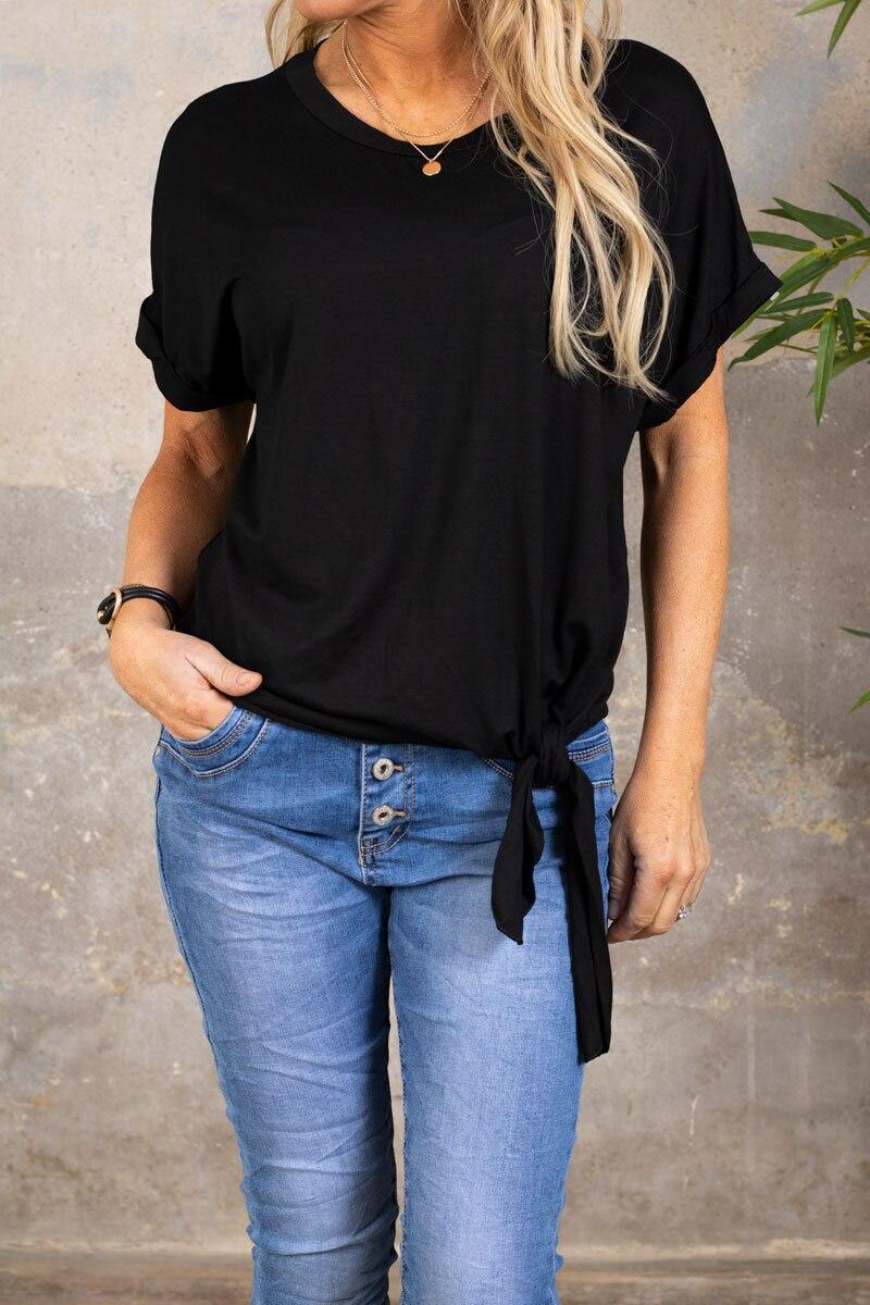 Minna Tie-T-shirt- Svart