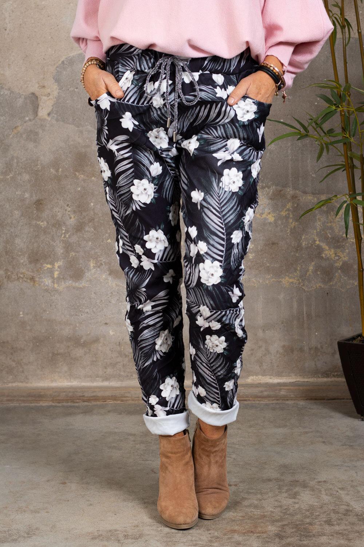 Myke bukser 21201 - Palmeblader og blomster  - Svart