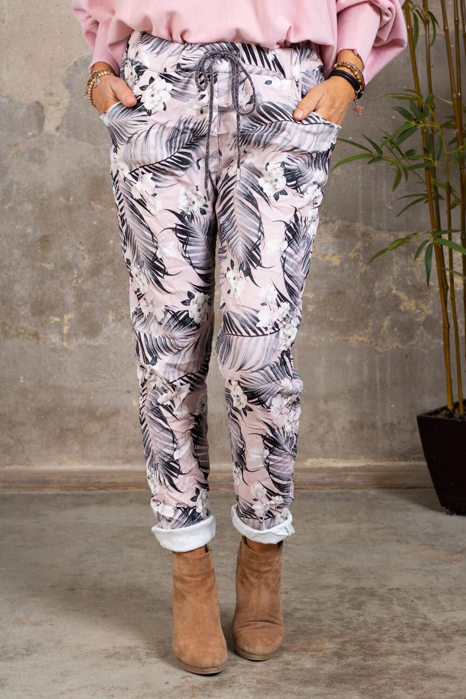 Myke bukser 21201 - Palmeblader og blomster - Rosa