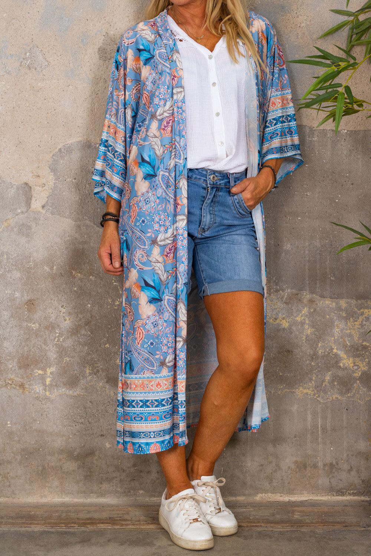 Myk Kimono - Paisley - Blå