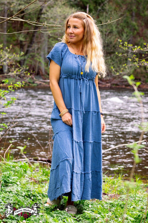 Moa kjole med rå kanter - Blå
