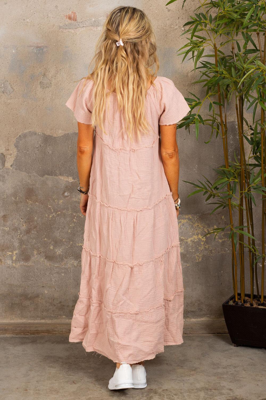 Moa kjole med rå kanter - Gammelrosa