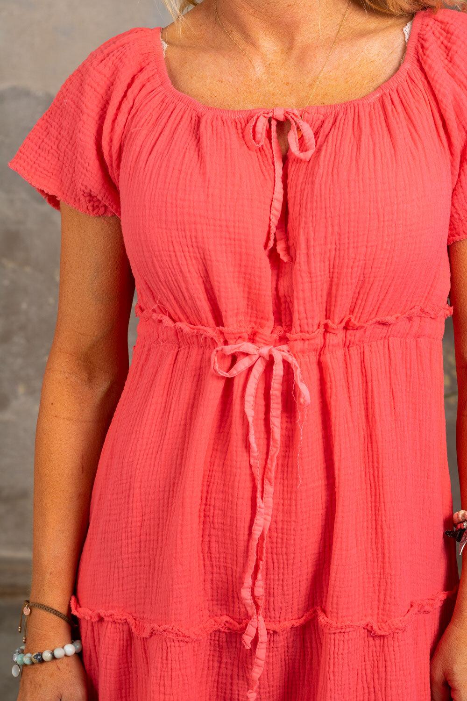 Moa kjole med rå kanter - Corall