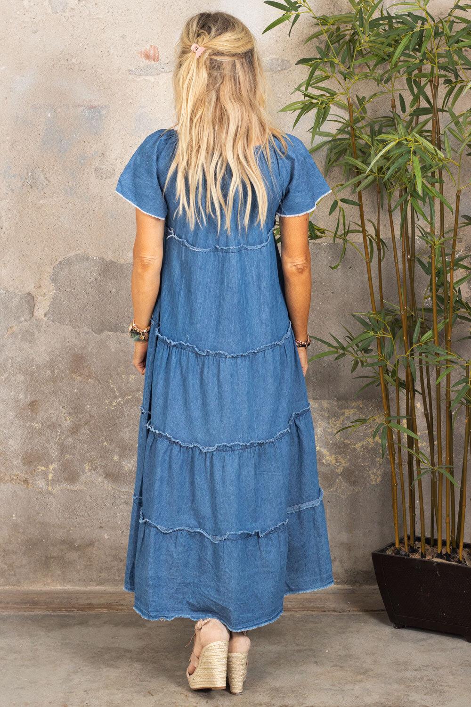 Moa kjole med rå kanter -  Denim