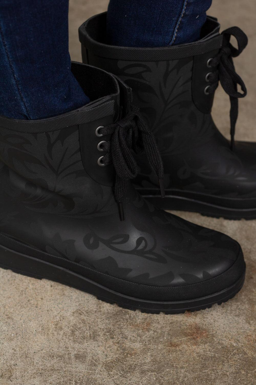 Mønstret gummistøvler - Svart