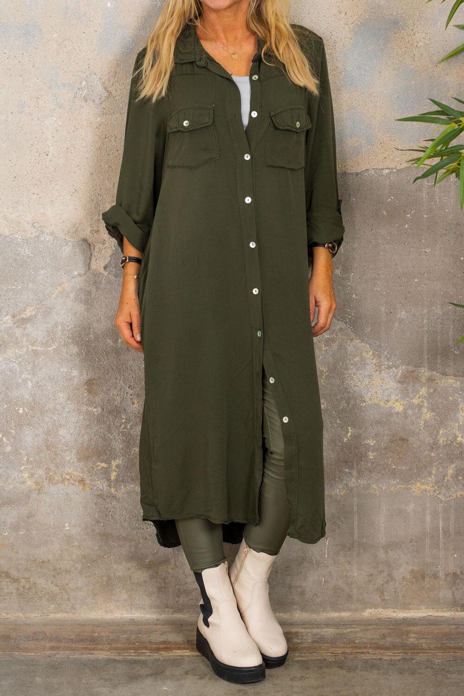 Nadja Lang skjorte - Ensfarget - Militærgrønn