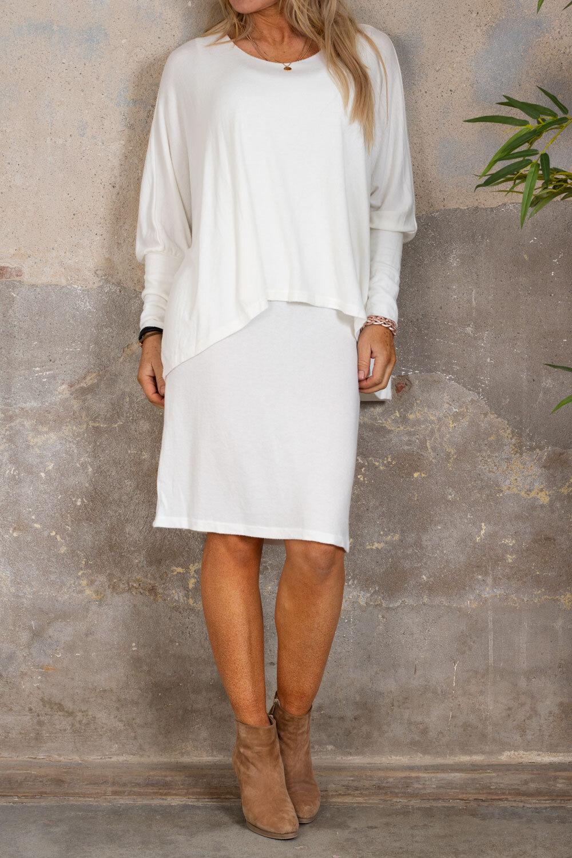 Naomi finstrikket kjole - Krem