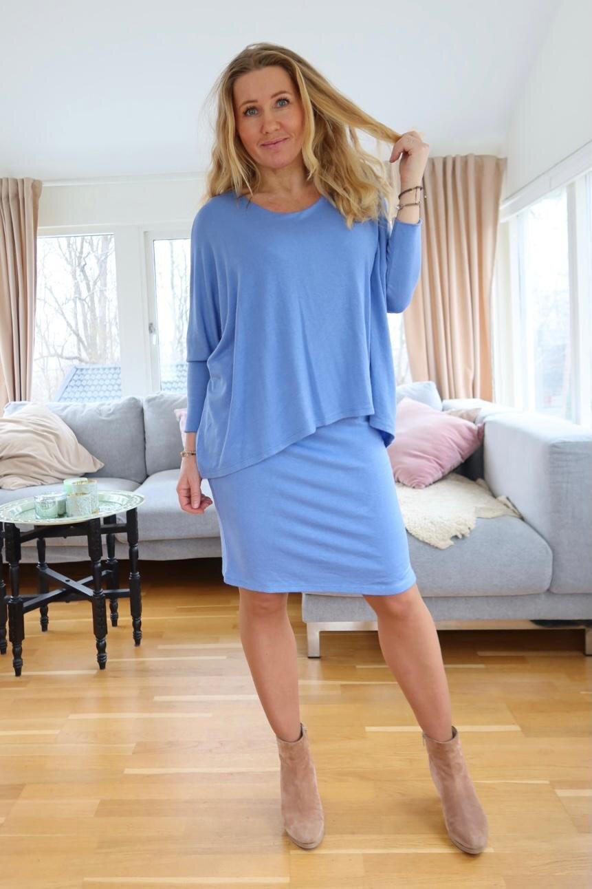 Naomi finstrikket kjole -Jeansblå