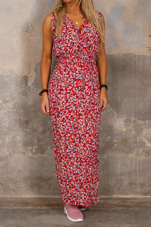 Noelle kjole - Blomstermønster - Rød