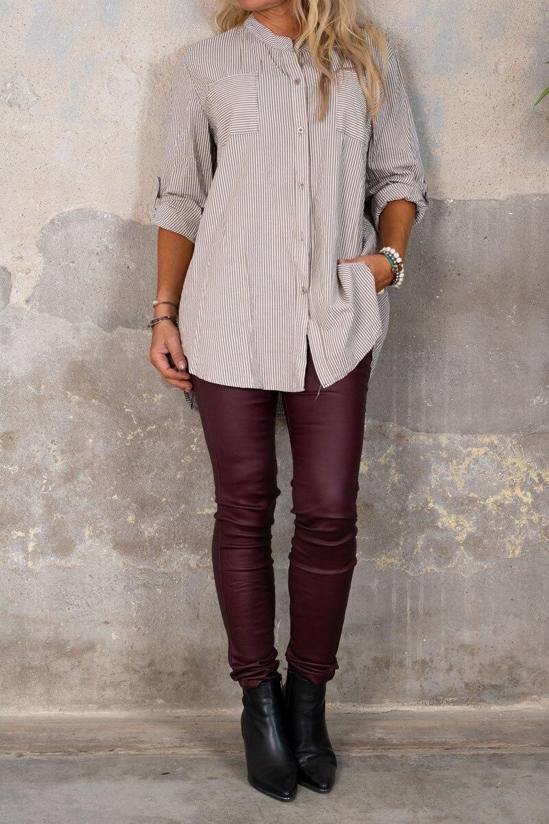 Nova-Langre-skjorta---Randig---taupe-hel