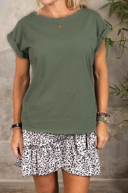Odette T-skjorte - oppbrettede ermer - Khaki