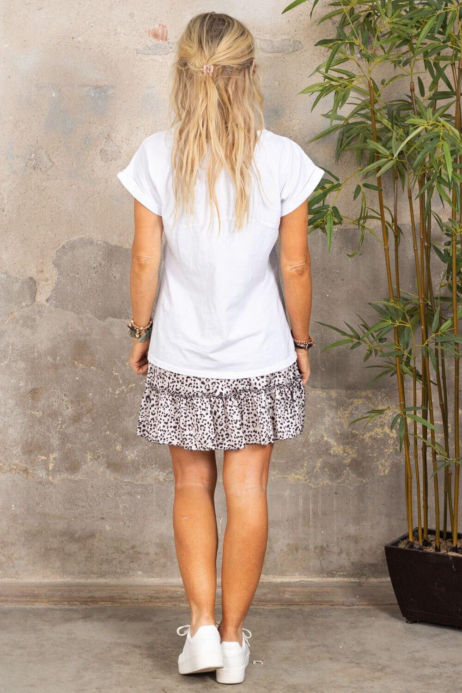 Odette T-skjorte - oppbrettede ermer - Hvit