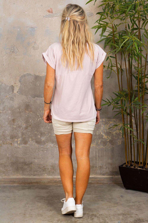 Odette T-skjorte - oppbrettede ermer - Lyse rosa