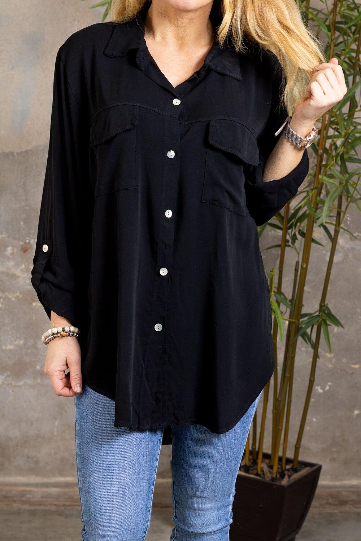 Opal skjorte - Brystlommer - Svart