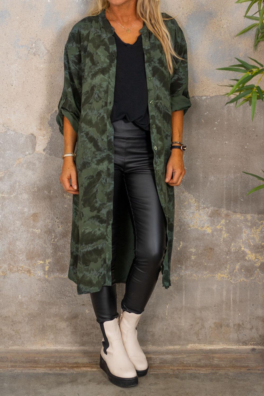 Padma lang skjorte - mønstret - Khaki