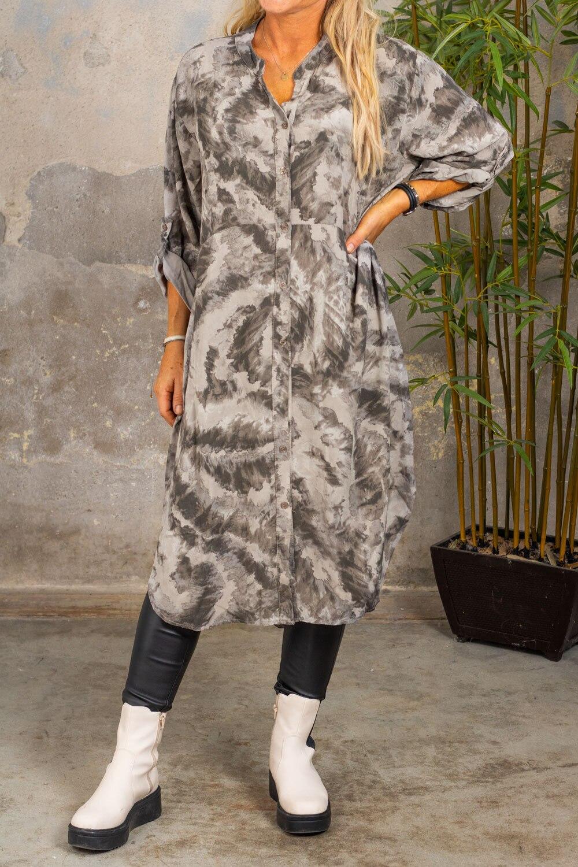 Padma lang skjorte - mønstret - Taupe