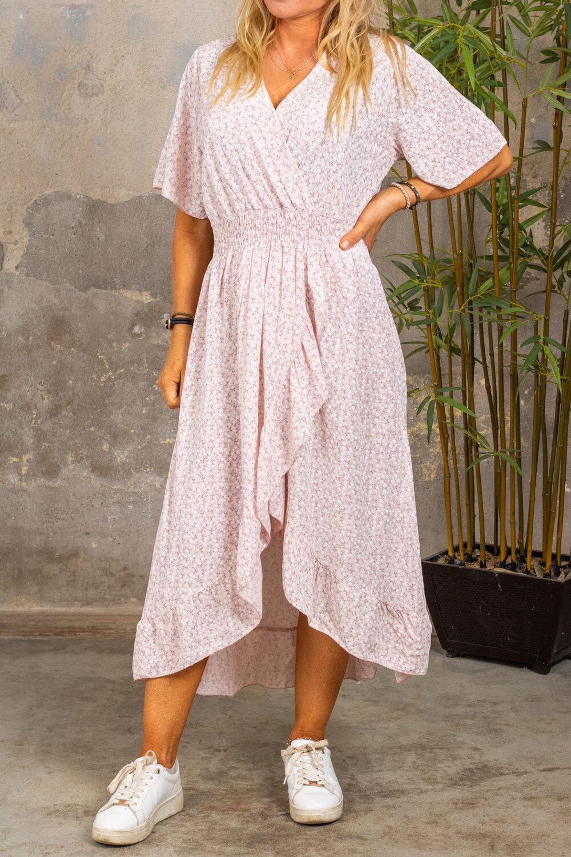 Paige kjole - Floral & Smock - Lyse rosa