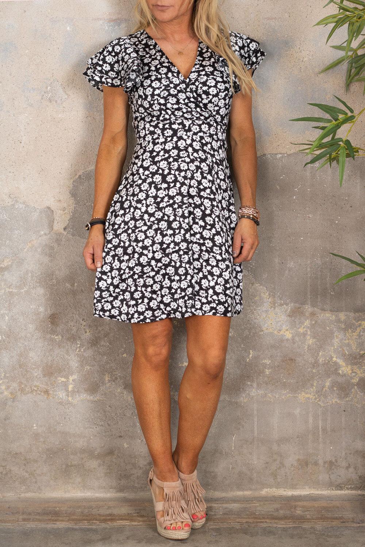 Paloma kjole - Blomster - Svart